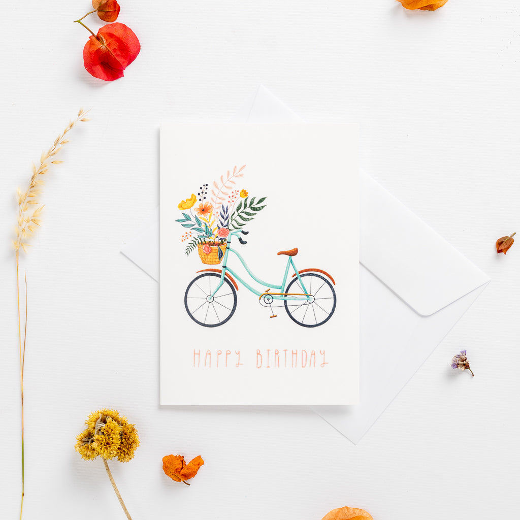 greeting cards happy birthday bicycle wonder meyer illustration