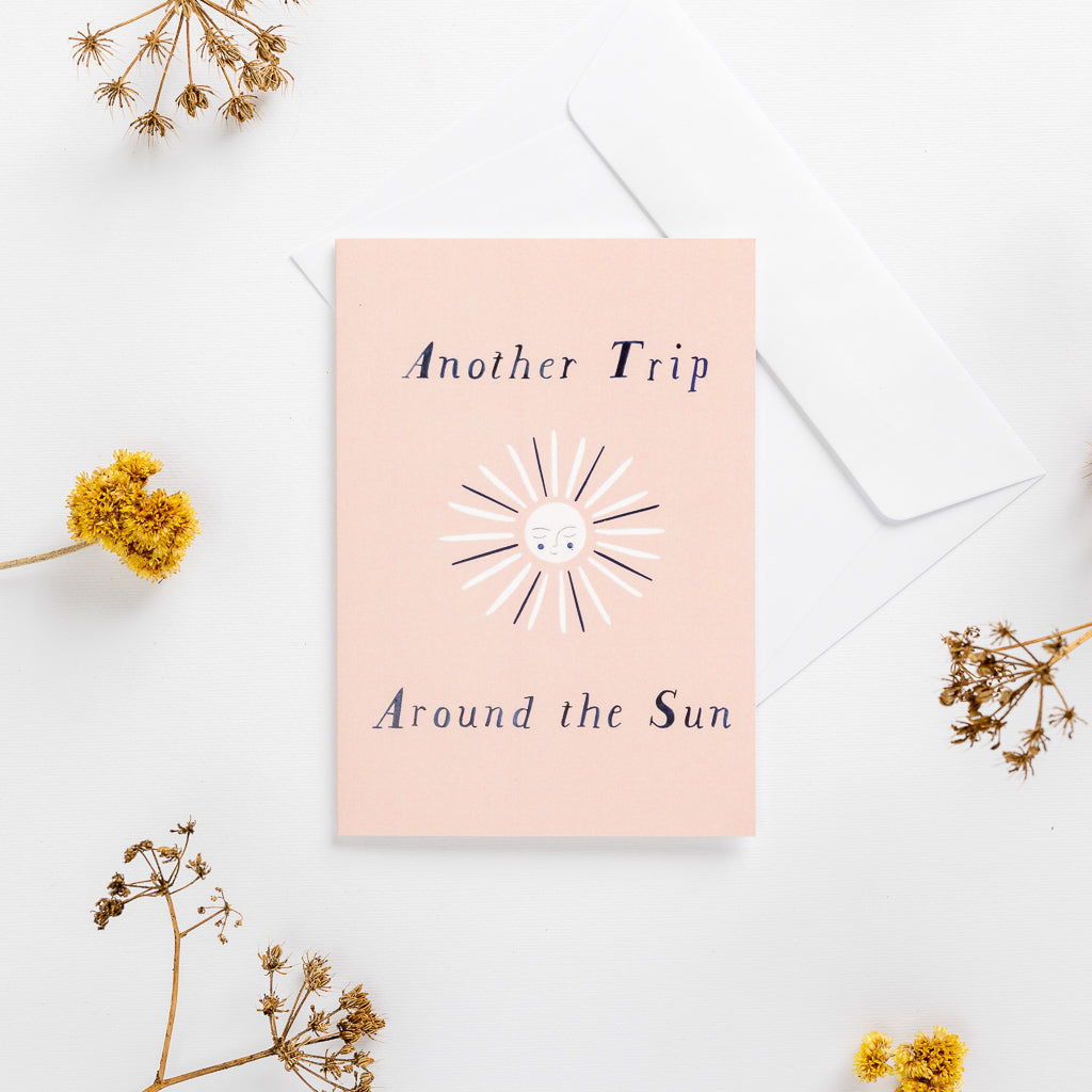 greeting card sun pink wonder meyer illustrations trip adventure pastel