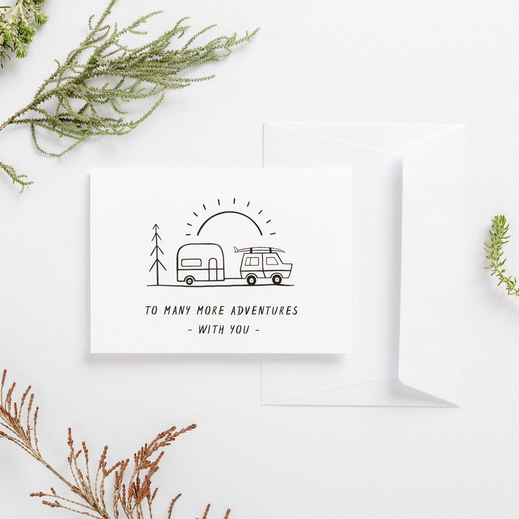 greeting card adventure holiday caravan line art cute