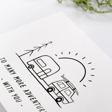 Load image into Gallery viewer, greeting card adventure holiday caravan line art cute detail