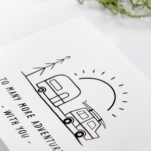 greeting card adventure holiday caravan line art cute detail