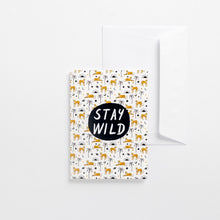 Load image into Gallery viewer, greeting card stay wild cheetahs Africa pattern illustrated envelope