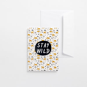greeting card stay wild cheetahs Africa pattern illustrated envelope