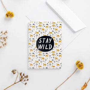 greeting card stay wild cheetahs Africa pattern illustrated