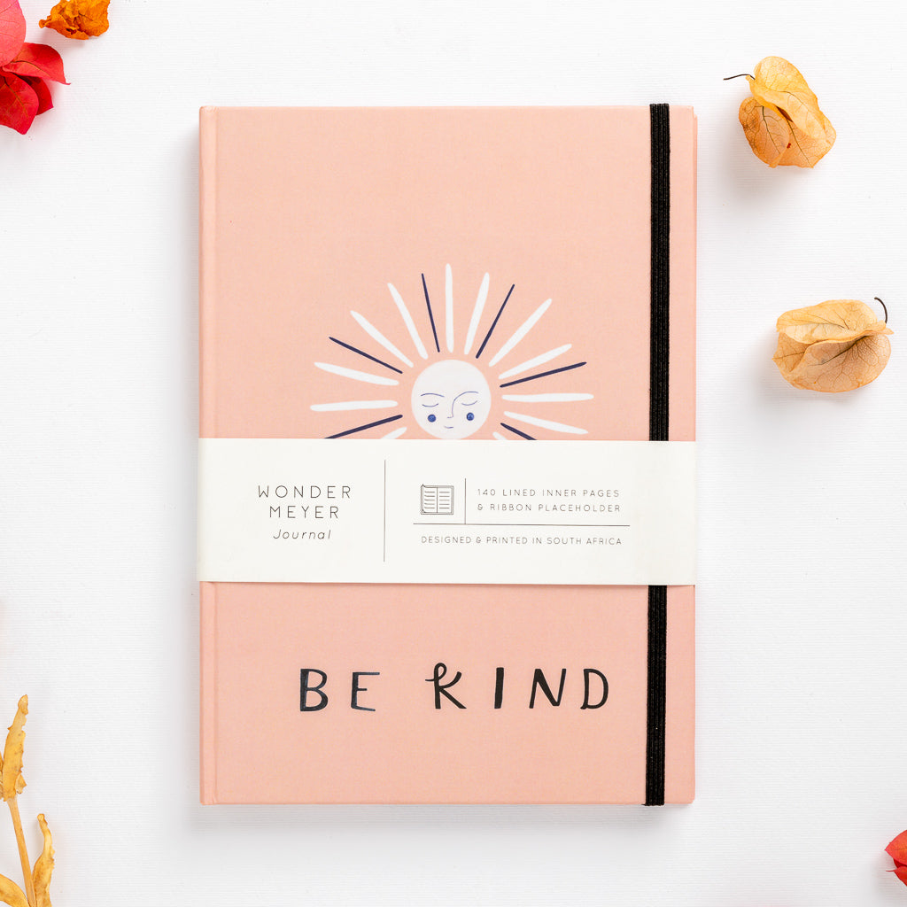 hard cover note book sun happy be kind love happiness lined