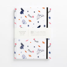 Load image into Gallery viewer, hard cover illustrated notebook bunny bunnies rabbits flowers pastel