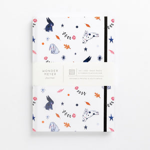 hard cover illustrated notebook bunny bunnies rabbits flowers pastel