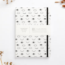 Load image into Gallery viewer, hard cover eye on you black white modern diary lined