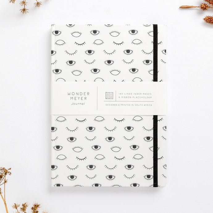 hard cover eye on you black white modern diary lined