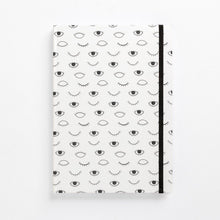 Load image into Gallery viewer, hard cover eye on you black white modern diary lined front