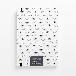 hard cover eye on you black white modern diary lined back book