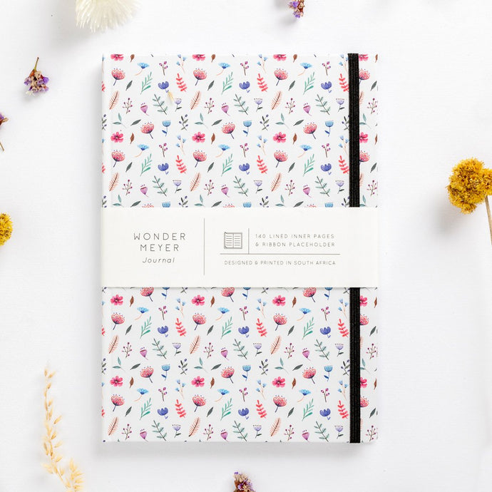 flower bomb pattern notebook hard cover pastel girls girly ladies diary lined