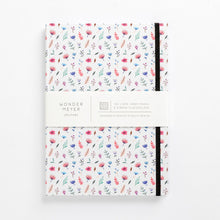 Load image into Gallery viewer, flower bomb pattern notebook hard cover pastel girls girly ladies diary lined mom