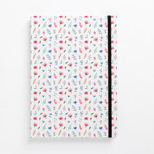 Load image into Gallery viewer, front flower bomb pattern notebook hard cover pastel girls girly ladies diary lined