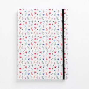 front flower bomb pattern notebook hard cover pastel girls girly ladies diary lined