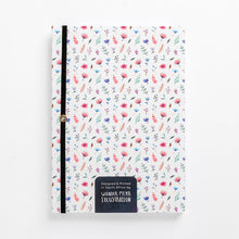 Load image into Gallery viewer, back flower bomb pattern notebook hard cover pastel girls girly ladies diary lined