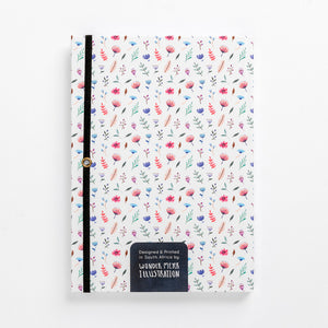 back flower bomb pattern notebook hard cover pastel girls girly ladies diary lined