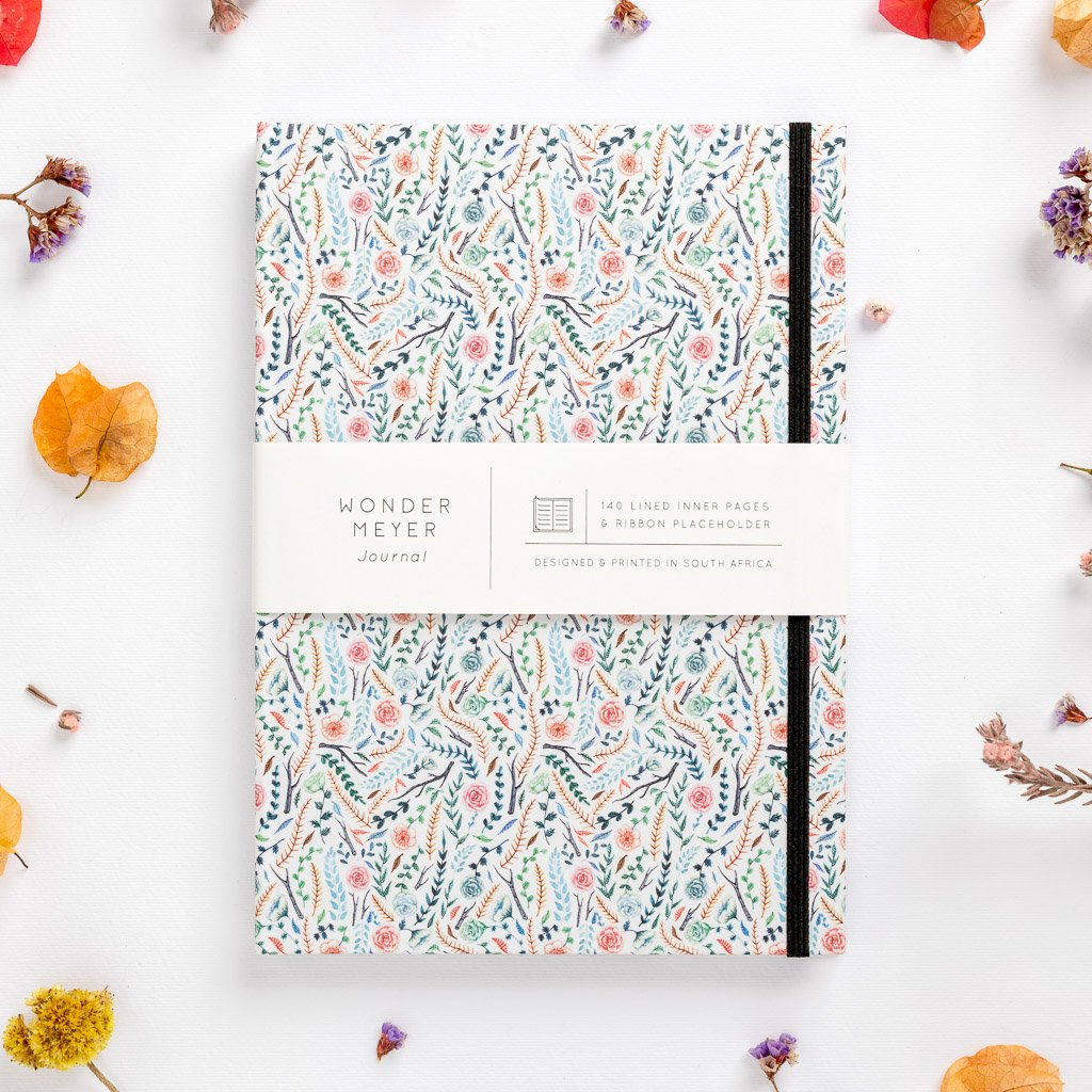 flowers meadow colourful floral hard cover notebook diary