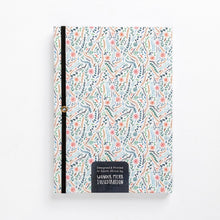 Load image into Gallery viewer, back flowers meadow colourful floral hard cover notebook diary