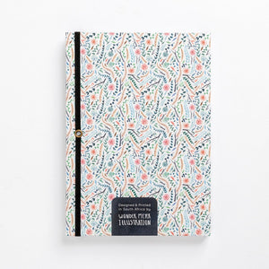 back flowers meadow colourful floral hard cover notebook diary