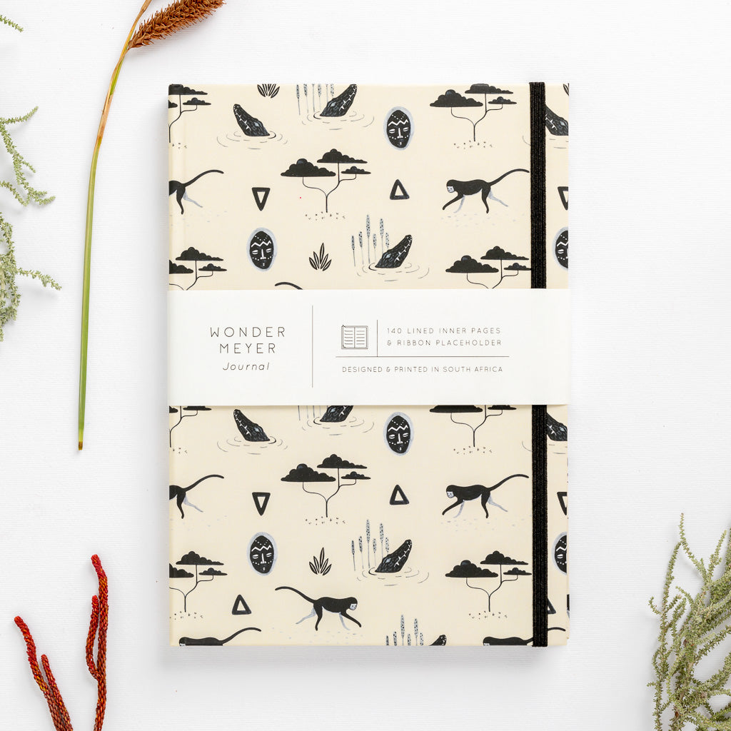 muti sand pattern tribal african mask monkey notebook