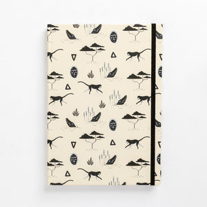 book front muti sand pattern tribal african mask monkey notebook