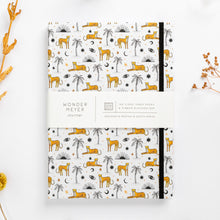 Load image into Gallery viewer, cheetah notebook palms sun eyes moon diary journal