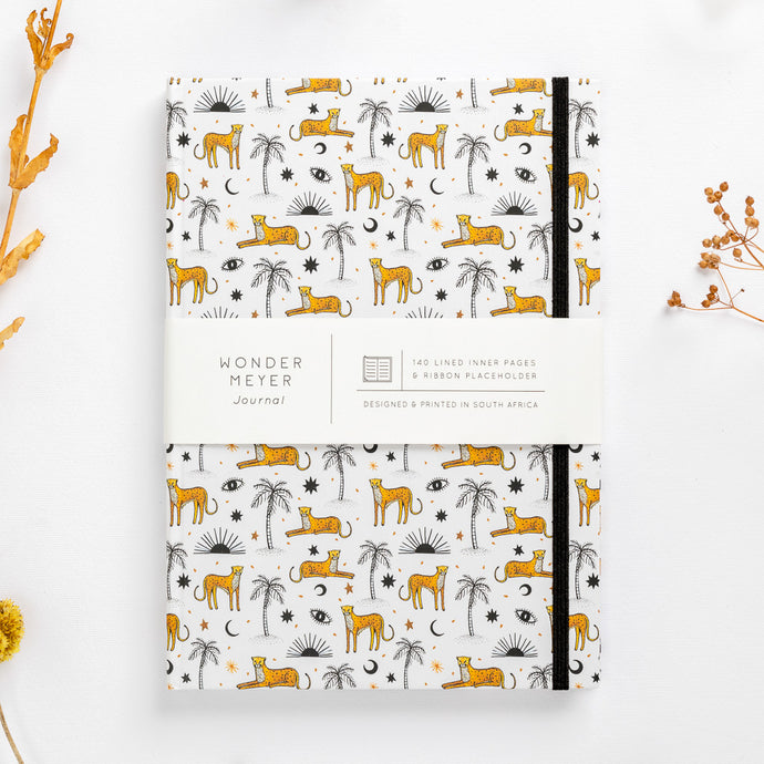 cheetah notebook palms sun eyes moon diary journal