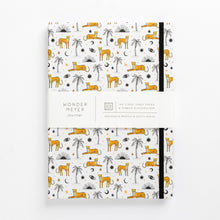 Load image into Gallery viewer, cheetah notebook palms sun eyes moon diary journal front