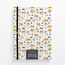 Load image into Gallery viewer, cheetah notebook palms sun eyes moon diary journal back string