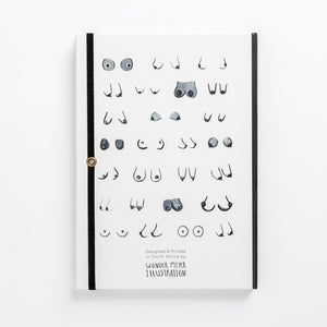 back book monochrome tits boobies boobs breast notebook women black white sizes shapes