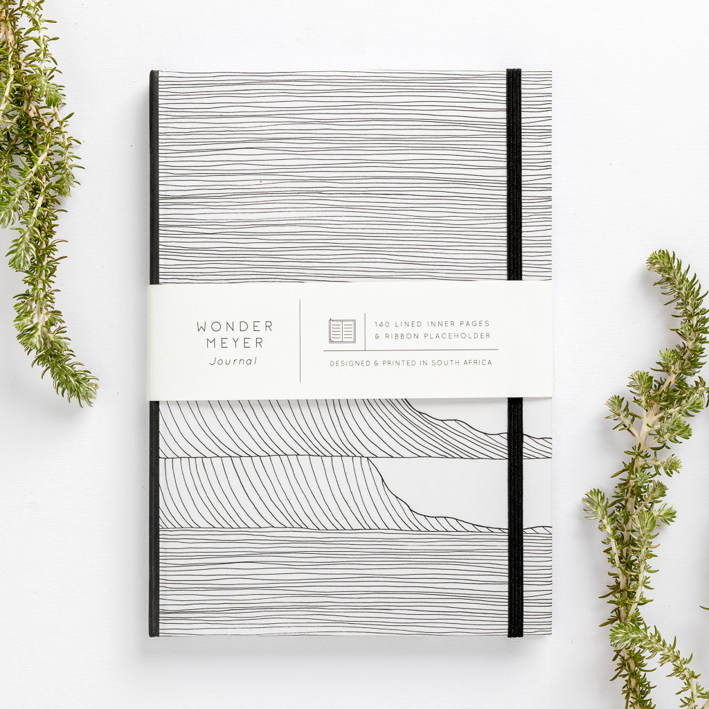 wave notebook monochrome hard cover lined journal