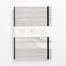 Load image into Gallery viewer, wave notebook monochrome hard cover lined journal front