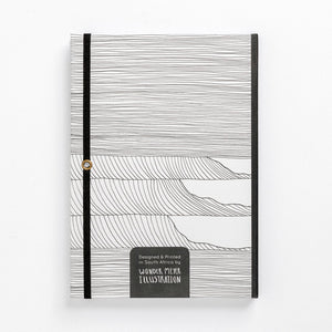 wave notebook monochrome hard cover lined journal back