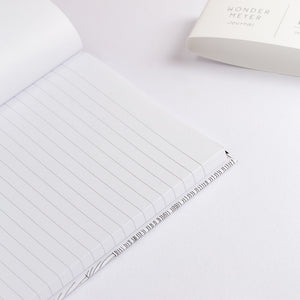 wave notebook monochrome hard cover lined journal inside detail