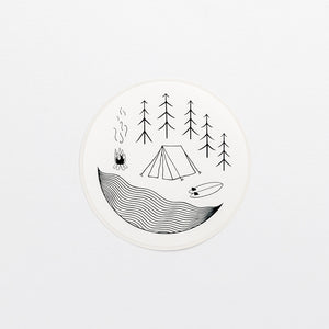 license disk camping wonder meyer illustrations tent forest fire