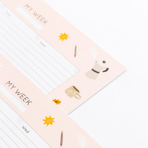 week planner yoga cat coffee laptop todo list full weekly notes pink pastel