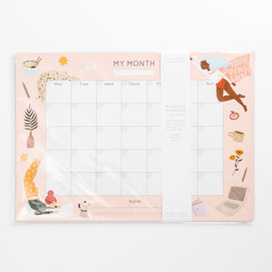 year planner month to month hand drawn illustrations super hero women yoga ramen star cat a3