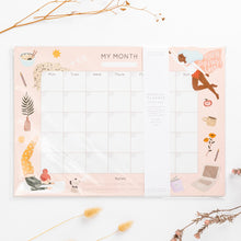 Load image into Gallery viewer, year planner month to month hand drawn illustrations super hero women yoga ramen star cat