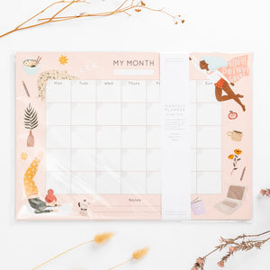 year planner month to month hand drawn illustrations super hero women yoga ramen star cat