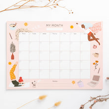 Load image into Gallery viewer, year planner month to month hand drawn illustrations super hero women yoga ramen star cat large planner