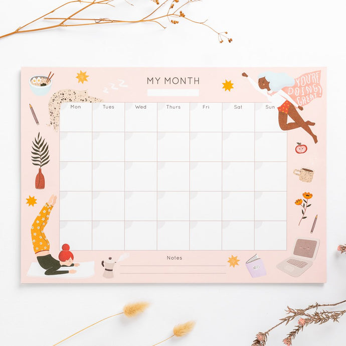 year planner month to month hand drawn illustrations super hero women yoga ramen star cat large planner