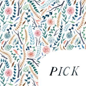 pick flowers not fights floral pattern water colour hand drawn detail