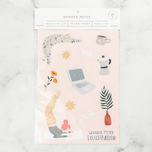 stickers pack cat joga Fern coffee laptop flowers pastel
