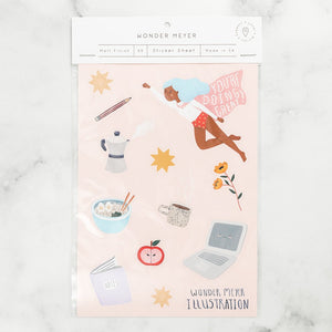 stickers pack cute positive super girl laptop ramen stars coffee