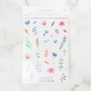 stickers pack flowers nature colourful pastel