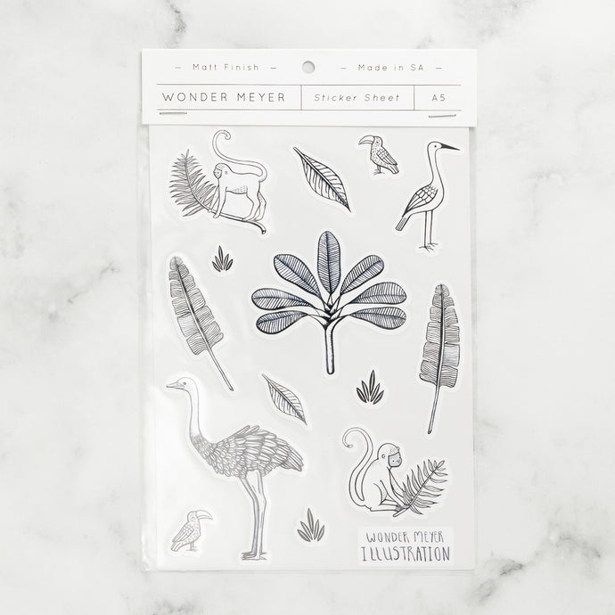 stickers pack jungle animals ferns monkey bird nature line art