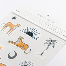 Load image into Gallery viewer, sticker pack sahara wonder meyer illustrations leopards cheetahs palm trees sun eye moon detail