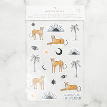 Load image into Gallery viewer, sticker pack sahara wonder meyer illustrations leopards cheetahs palm trees sun eye moon