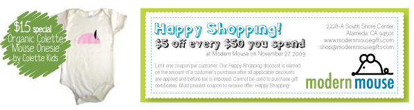 Colette Mouse organic onesies $15 at Modern Mouse...and a special coupon for Black Friday!